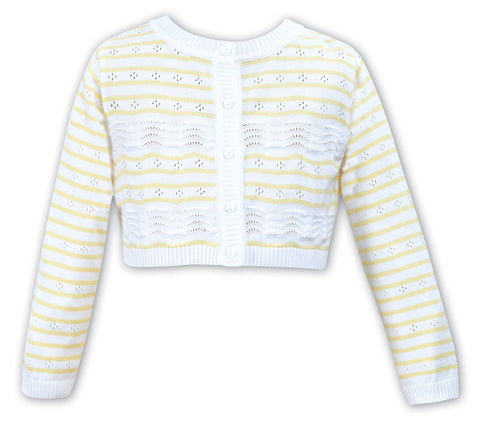 Lemon Stripe Pointelle Cardigan