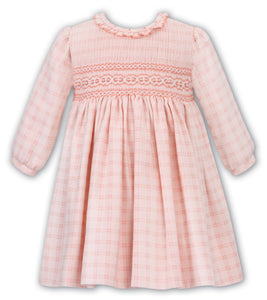 Peach Plaid Smocked Dress