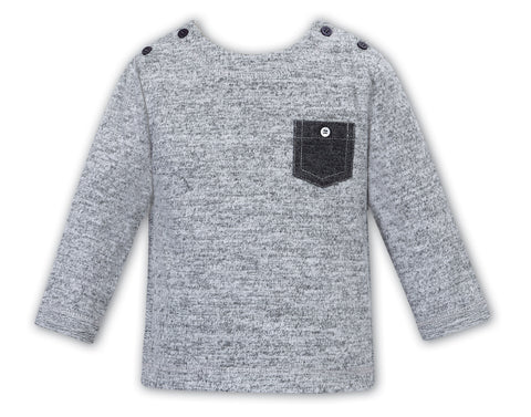Sarah louise boys patch pocket tee in grey