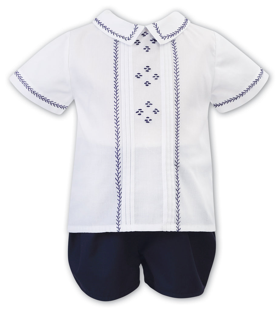 Sarah Louise of England boys 2 piece navy smocked set
