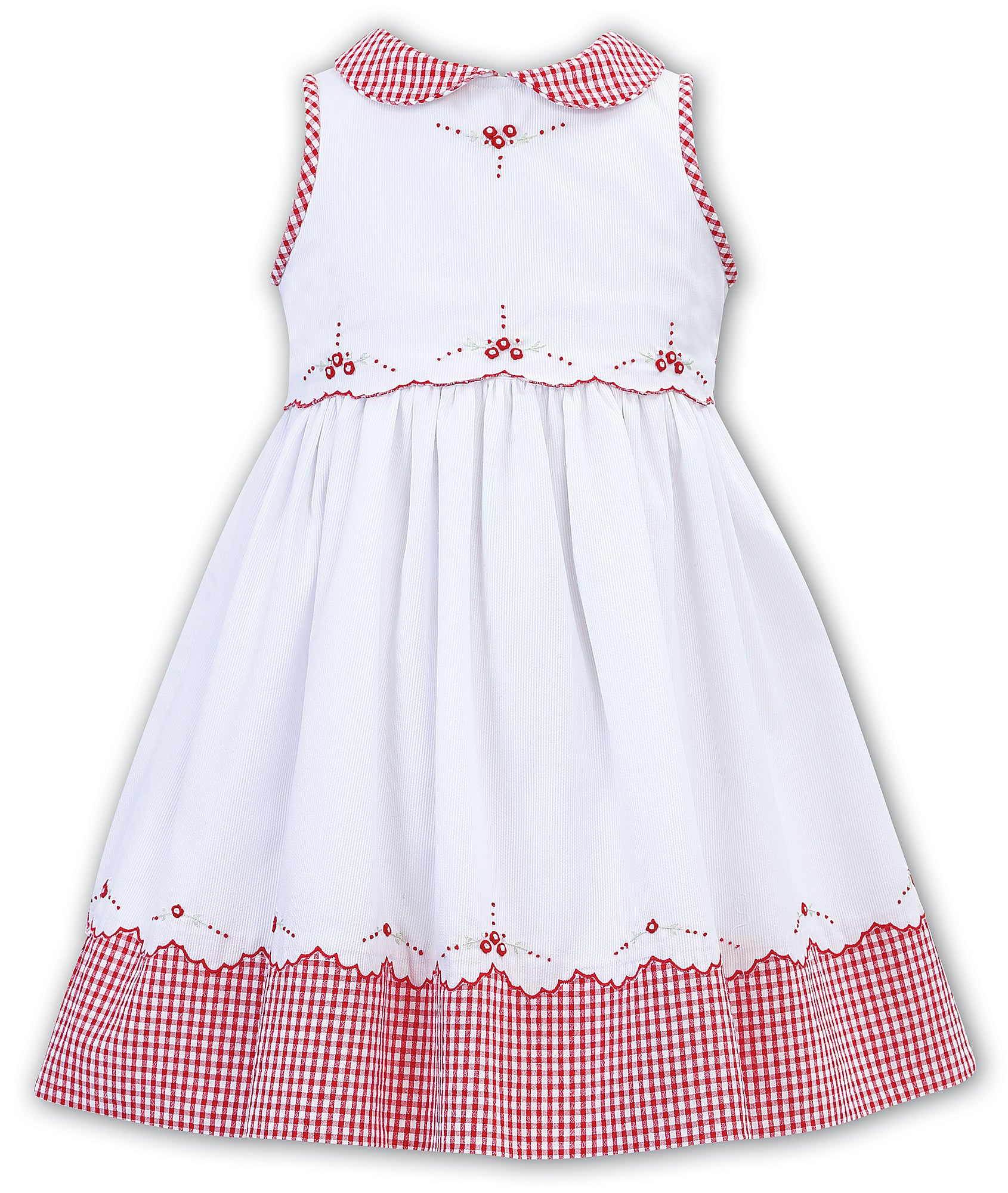 Sarah louise of england red gingham dress with floral hand embroidery