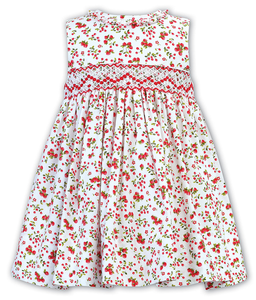 sarah louise strawberry print dress with smocking