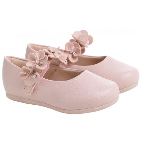 Pampili girls pink ballet shoe with rossettes