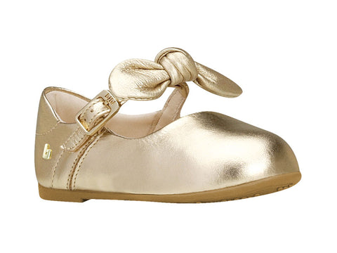 Bibi Brazil gold leather mary jane with knot tie