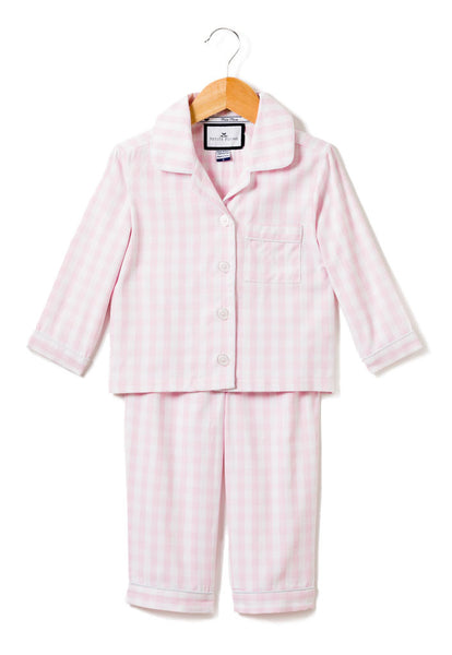 petite plume girls pink gingham pajama set