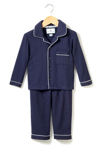 petite plume navy traditional flannel pajama set