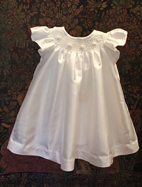 White Taffeta Smocked Bishop