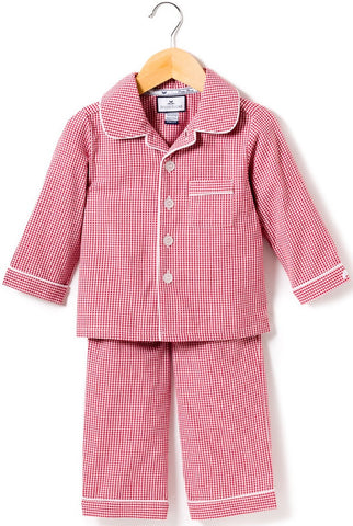 petite plume red mini gingham 2 piece pajama set