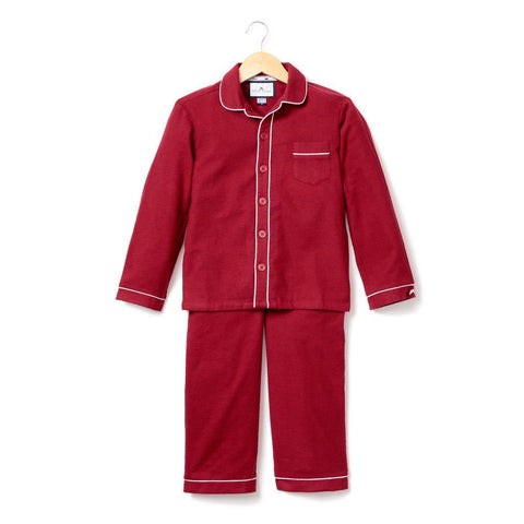 Red Garnet Flannel Pajamas with Double Piping