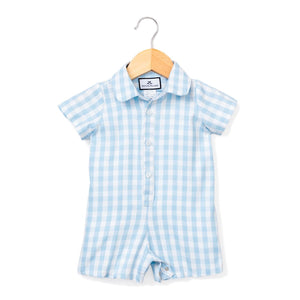 Light Blue Gingham Summer Short Romper