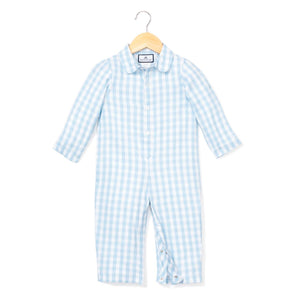 Petite Plume blue gingham one piece romper