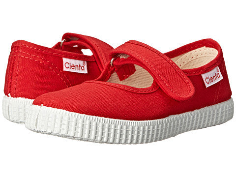 Cienta red canvas mary jane shoe with velcro strap