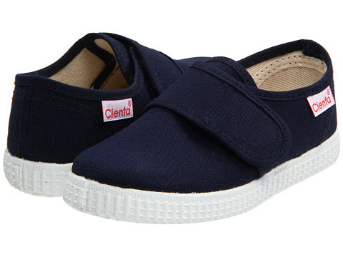 Single Strap Velcro Cienta shoe in navy