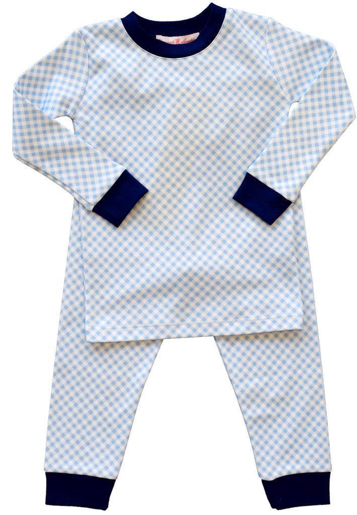 Pineapple Sunshine blue gingham pajama