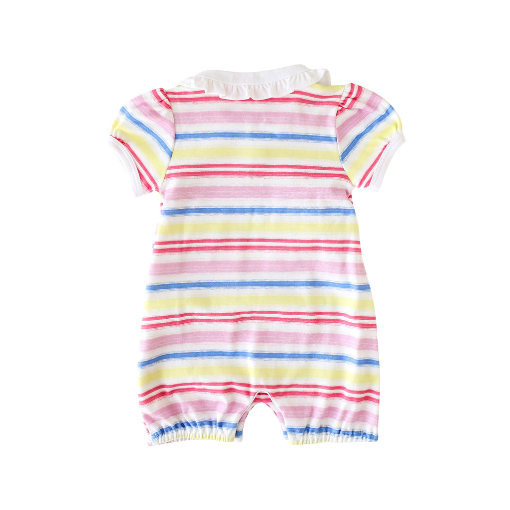 Pineapple Sunshine Rainbow Stripe Collared Romper - Little Birdies