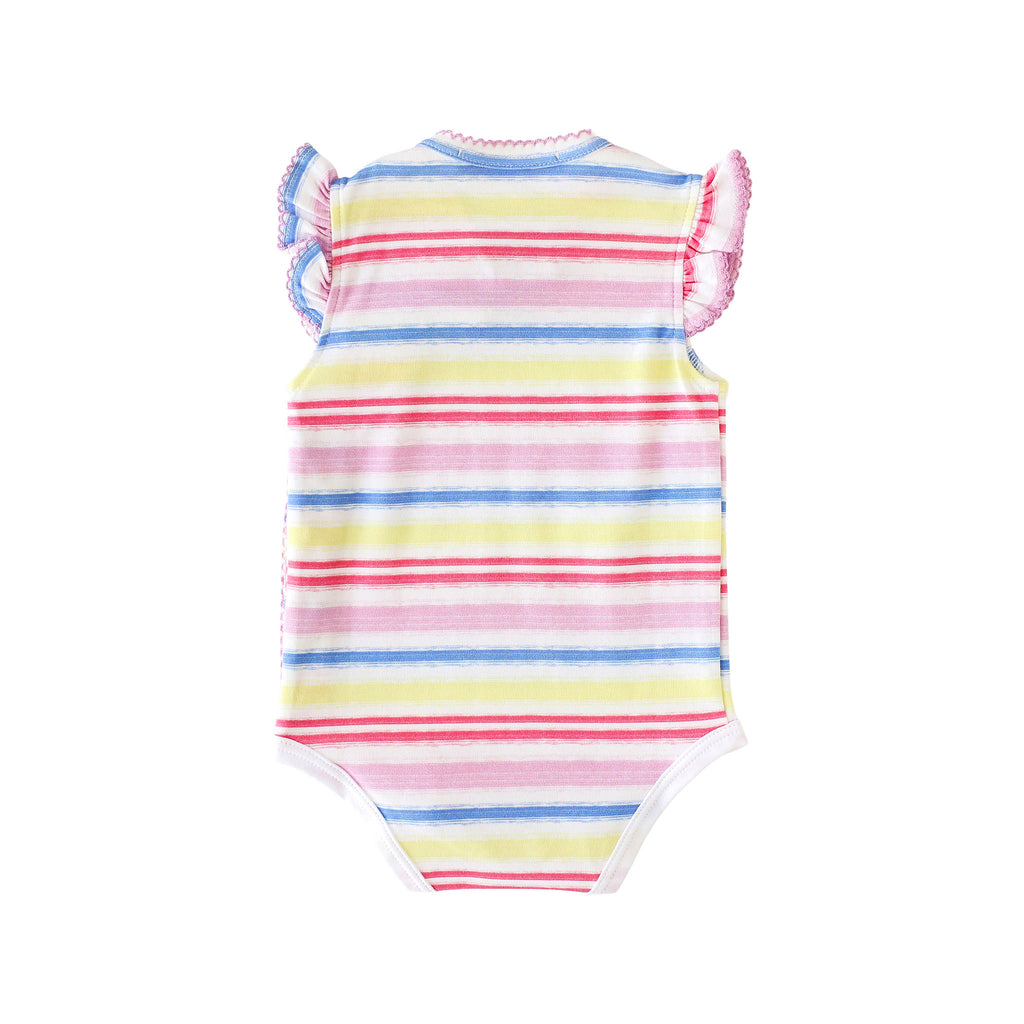 Pineapple Sunshine Rainbow Stripe Onesie with Bows - Little Birdies