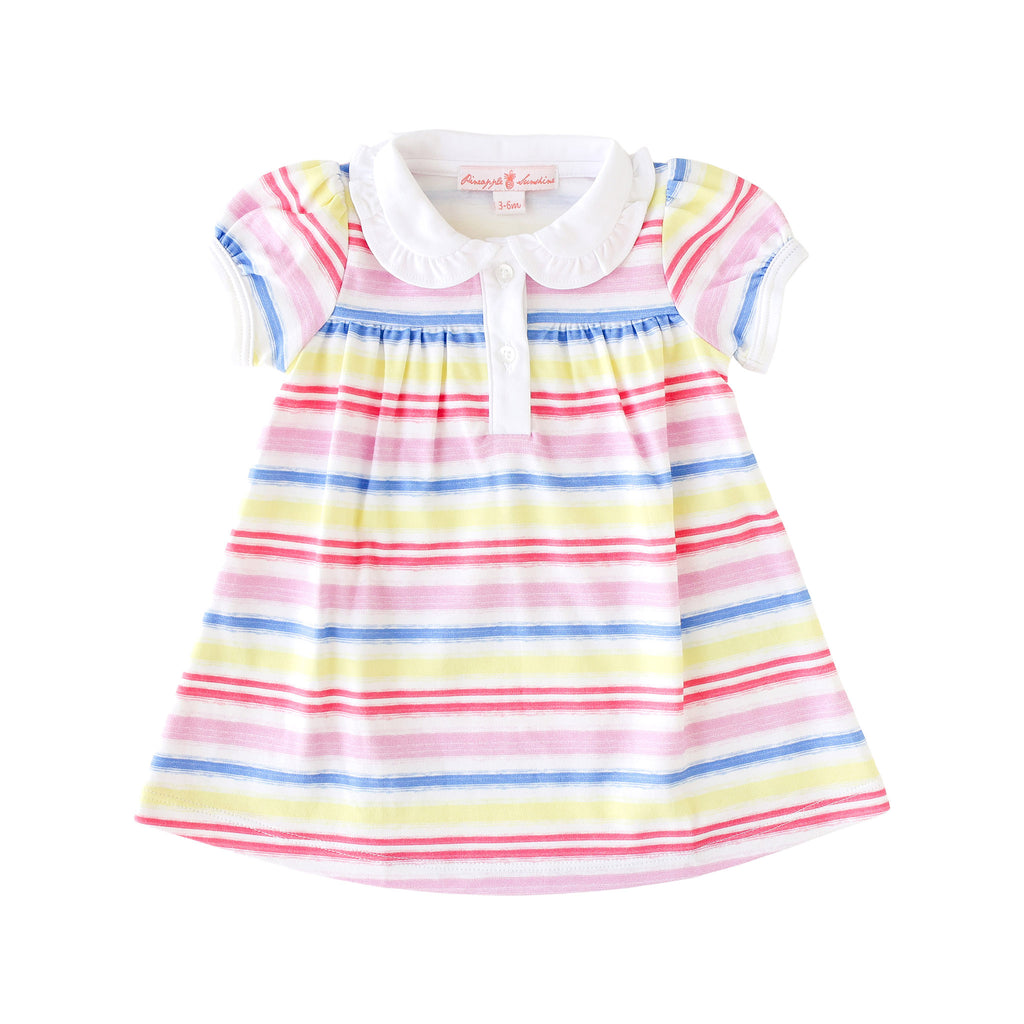 Pineapple Sunshine Rainbow Stripe Collared Dress
