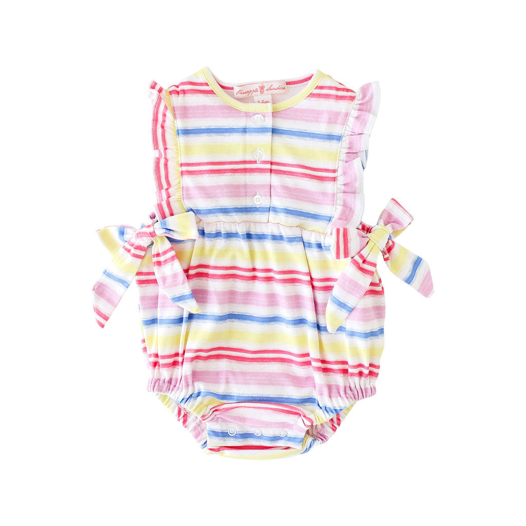 Pineapple Sunshine Rainbow Stripe Side Tie Bubble - Little Birdies