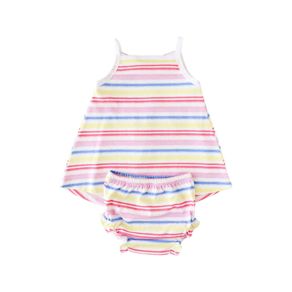 Pineapple Sunshine Rainbow Stripe Smocked Tank Dress - Little Birdies