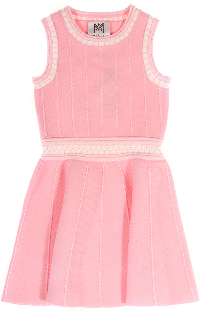 Vertical Textured Flare Dress-Candy