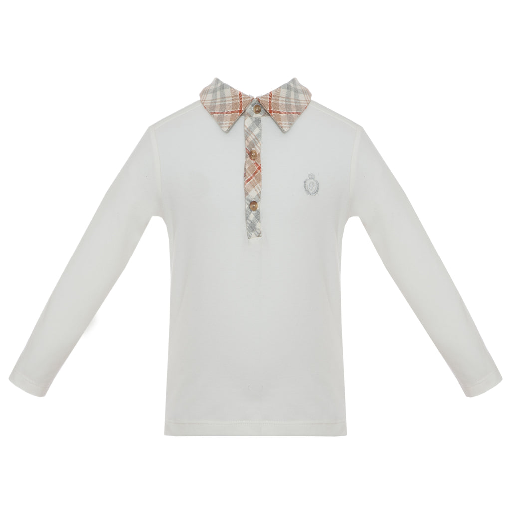 Patachou boys polo with plaid check collar