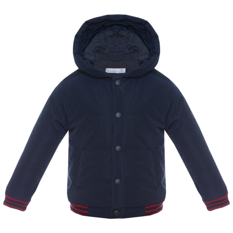 patachou boys navy varsity rain jacket with hood and racing strilpe
