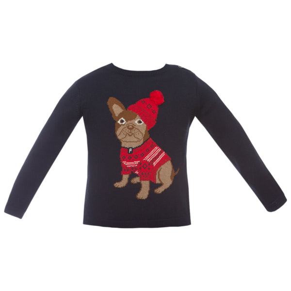 Patachou baby french bulldog holiday sweater