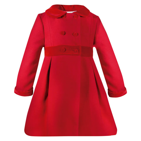 patachou girls red wool coat with velvet collar