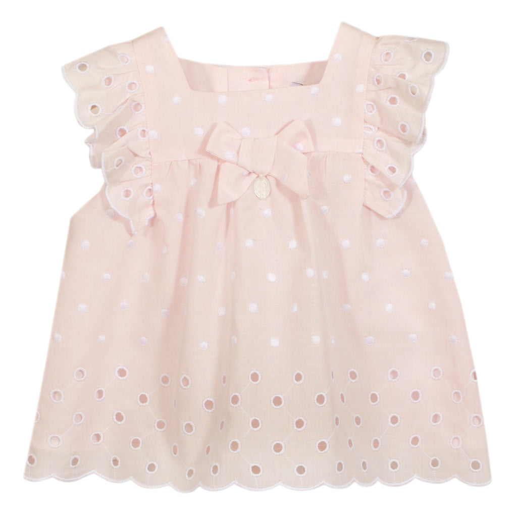 Patachou baby girls pink eyelet blouse top