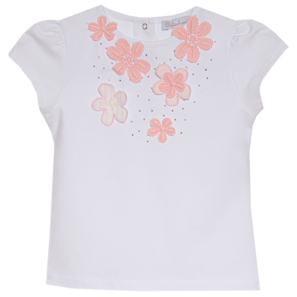 patachou girls top with pink applique flowers