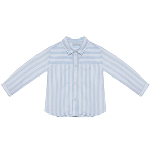 Patachou boys button down dress shirt in blue stripes