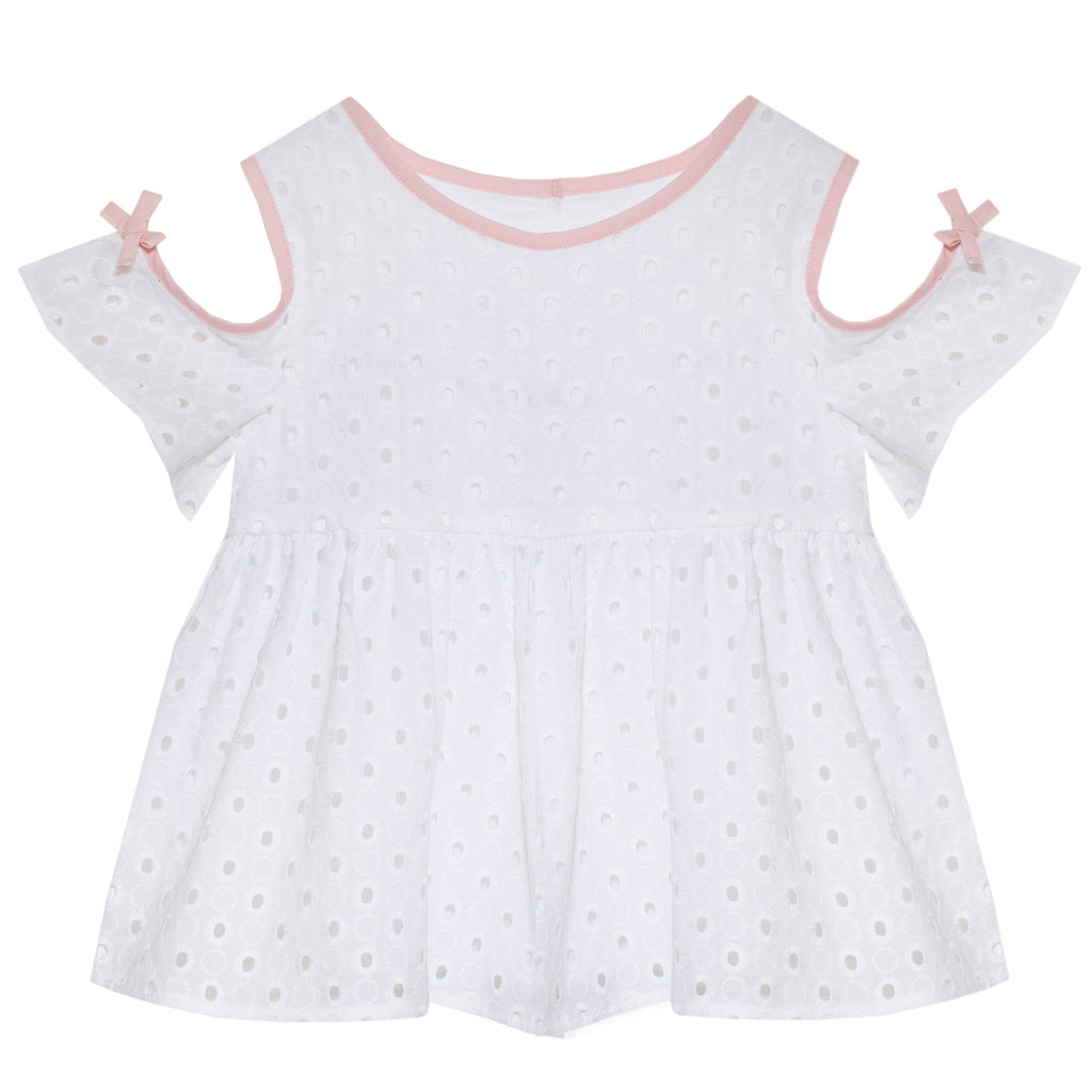 patachou girls eyelet top with cutout shoulder