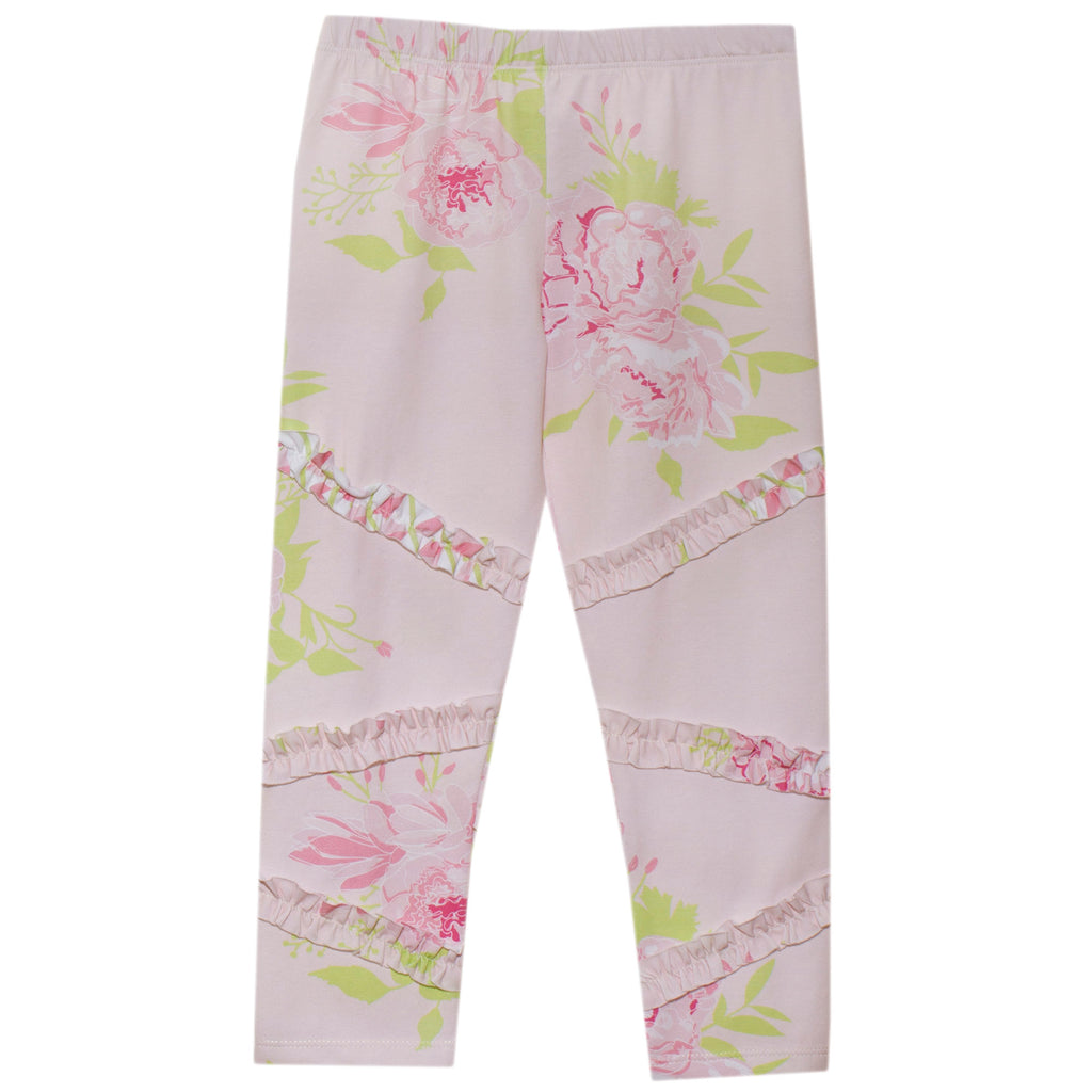Patachou girls pink floral legging with ruffle detail