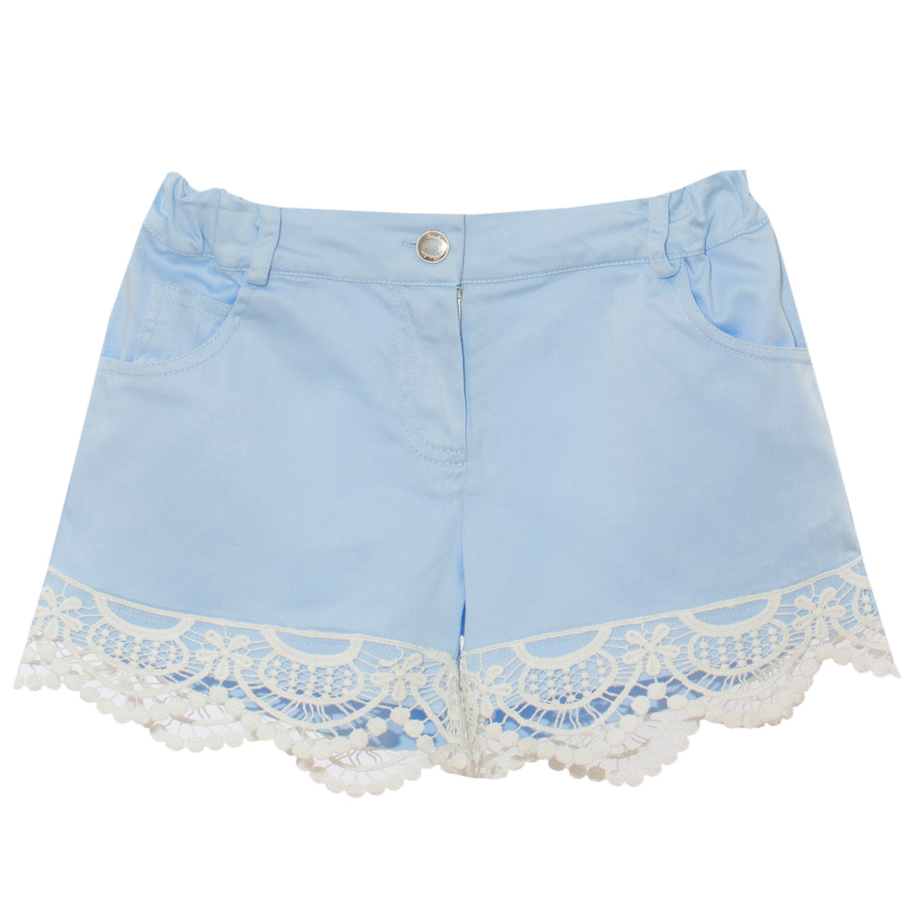 patachou girls blue short with lace trim