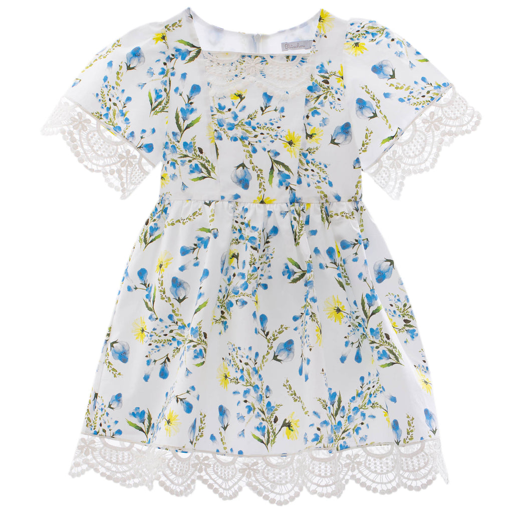 Patachou girls dress blue floral spring 20