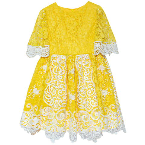 Patachou yellow and lace girls dress spring 20 summer