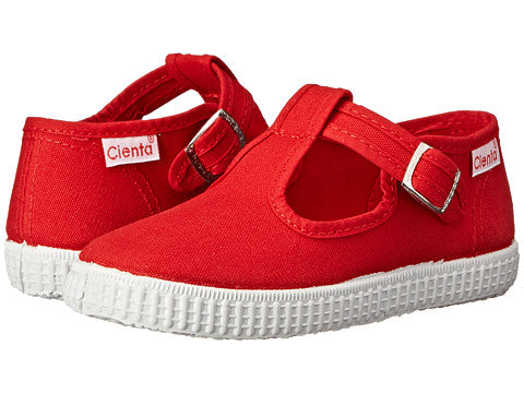 Red Canvas T-Strap