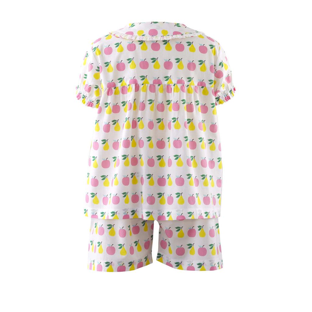 pink and green apple and pear print short set from Rachel Riley