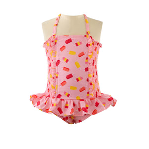 Pink ice lolly swimsuit with frills from Rachel Riley