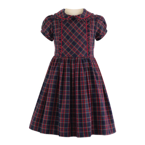 rachel riley tartan frill dress plaid navy and red