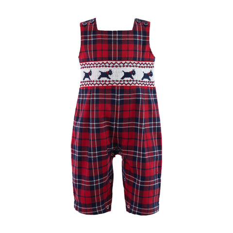 rachel riley navy and red plaid smocked scottie dog romper