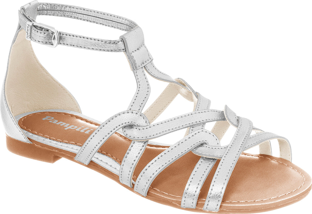 pampili girls silver gladiator shoe