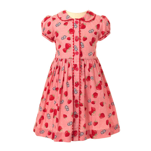 Rachel Riley button front strawberry print dress
