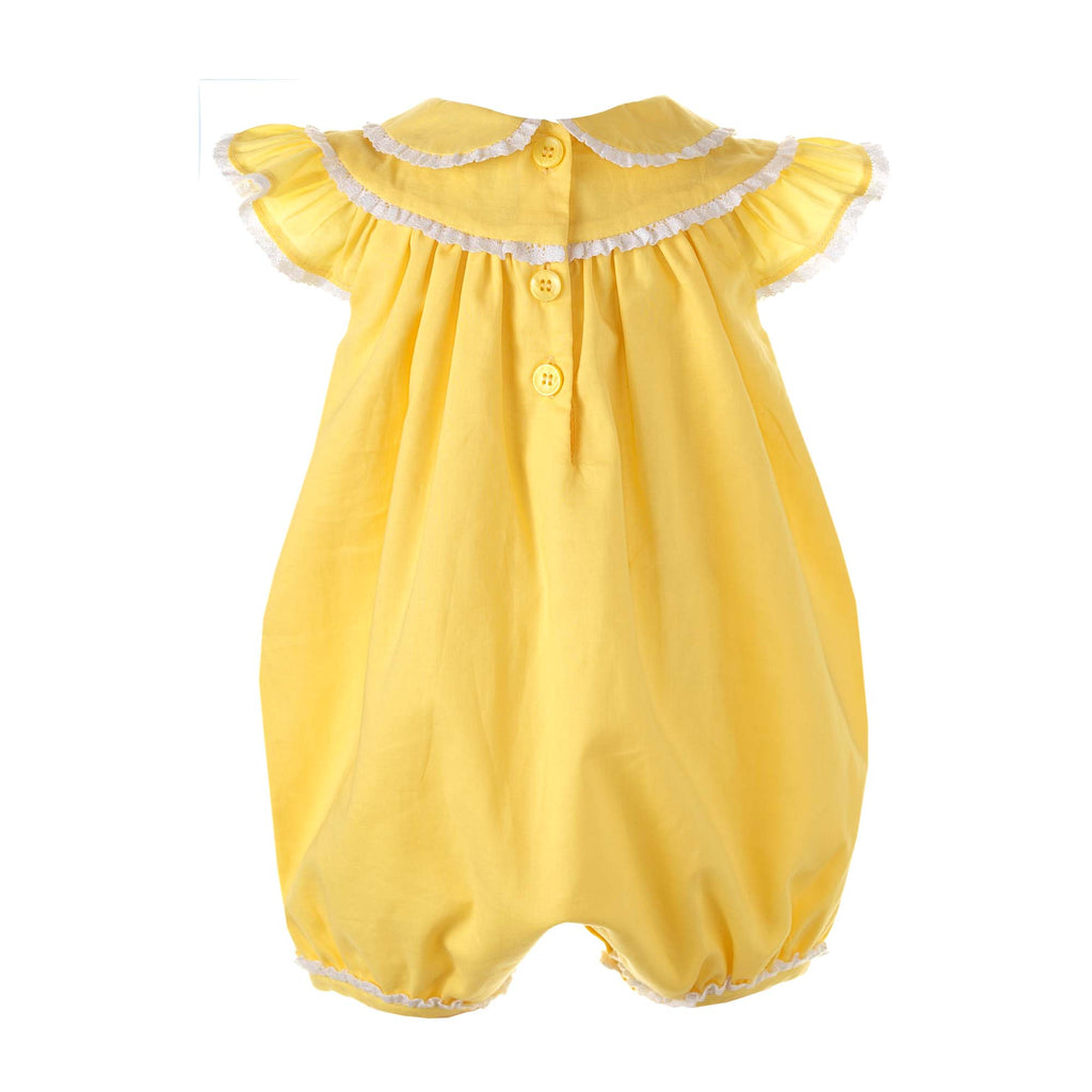 Yellow Lace Trim Bubble Babysuit