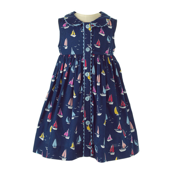 Sailboat Pattern Navy Button Front Dress Rachel Riley