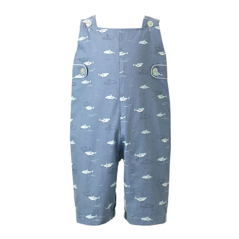 Blue Romper with Shark Pattern Rachel Riley