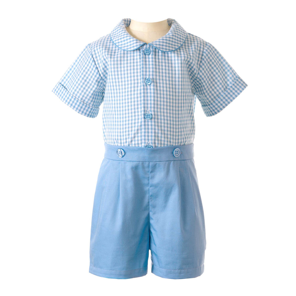 Gingham Blue Shirt and Short Set Rachel Riley
