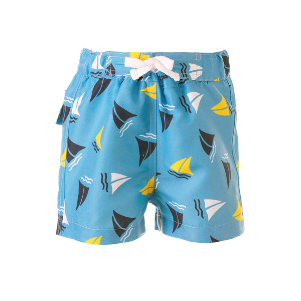 Boys Swimshorts with Blue Sailboats