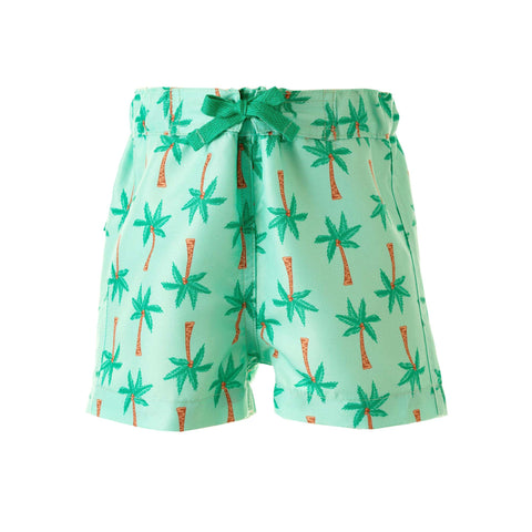 Boys Swim Shorts with Palm Trees in Mint Green