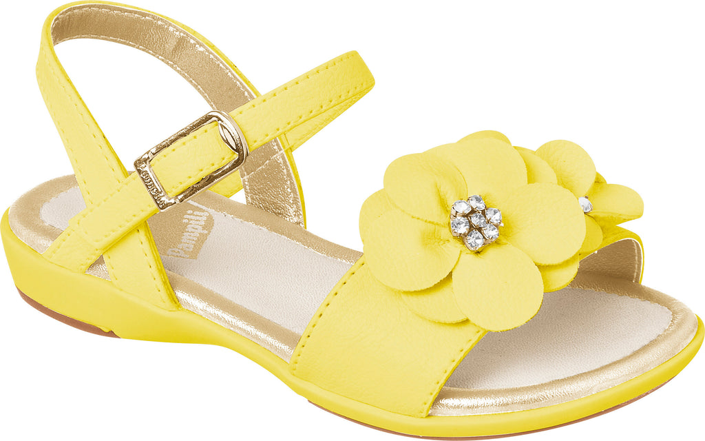 pampili yellow sandal with flowers on toe